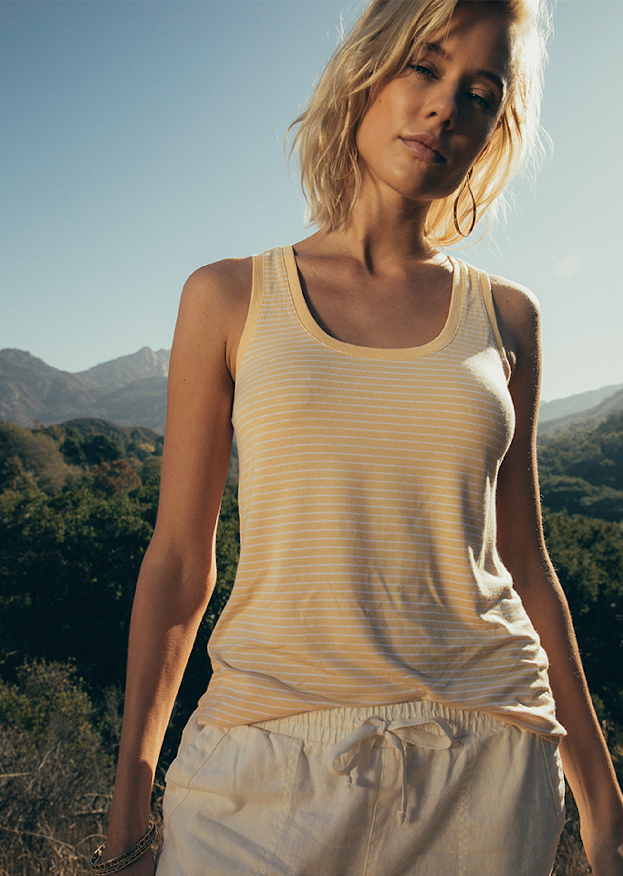 The Micro Stripe Jersey Tank in Yellow Cream and White
