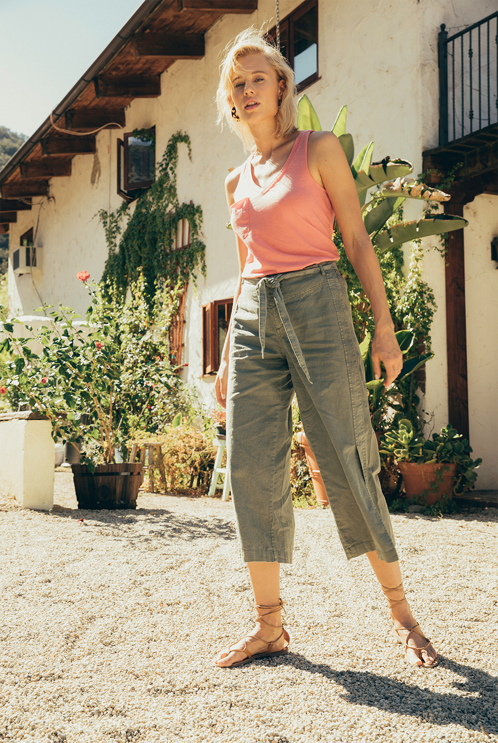 Amiens Tie Front Pant by Rag Poets in Castor Green