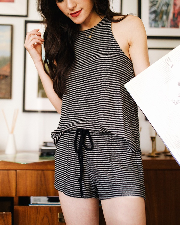 Christina wearing The Striped Brushed Rib Racer Tank and Shorts by Z SUPPLY