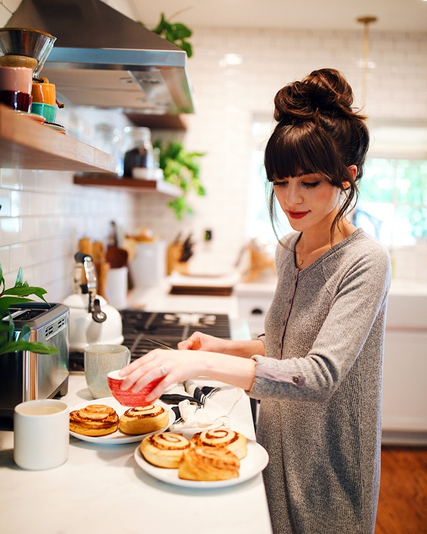 Christina baking wearing The Brushed Rib Henley Dress by Z SUPPLY in Heather Grey
