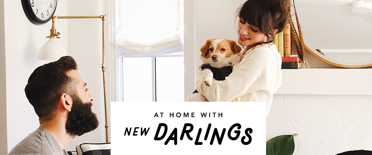 Christina and Robert from New Darlings with their dog, Henry.